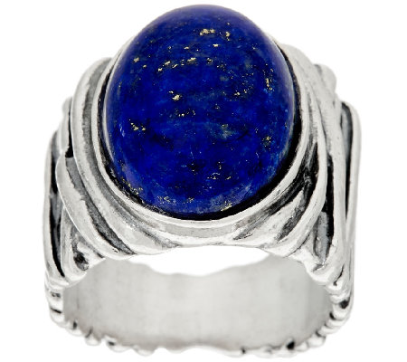 Sterling Silver Textured Gemstone Ring by Or Paz