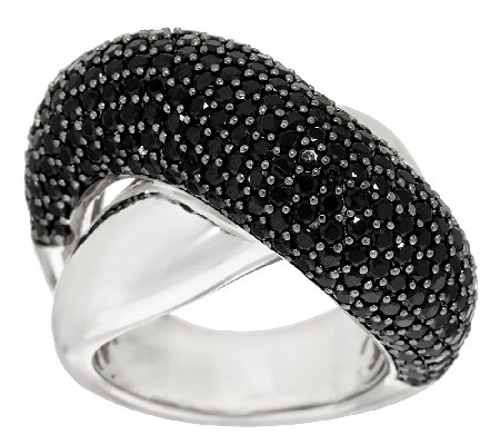 """As Is"" VicenzaSilver Sterling 3.80ct tw Black Spinel Crossover Ring"