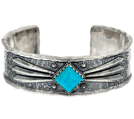 Jennifer Nettles Sterling Silver Textured Bold Turquoise Cuff