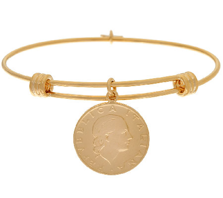 Bronzo Italia Expandable 200 Lire Coin Bangle