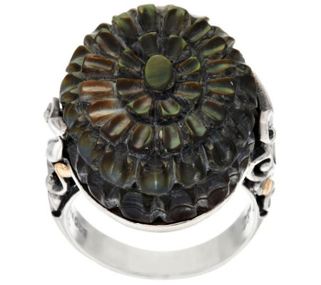 """As Is"" Artisan Crafted Sterling/18K Black Mother-of Pearl Ring"