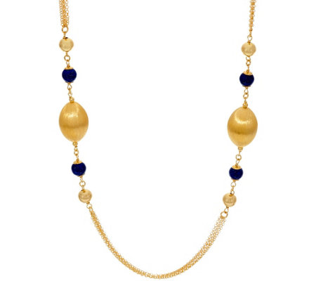 """As Is"" Veronese 18K Clad 24"" Gemstone & Satin Necklace"