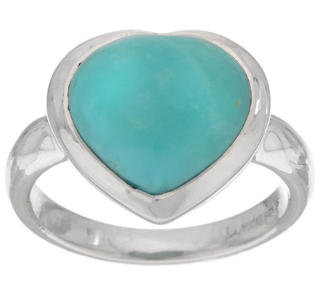 """As Is"" Turquoise Heart Cut Sterling Silver Ring"