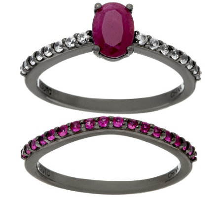 """As Is""Graziela Gems Precious Gemstone & Zircon Sterling Ring Set"