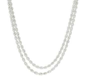 Sterling Silver Double Layer Rope Necklace, 15.20g, by Silver Style - J329294