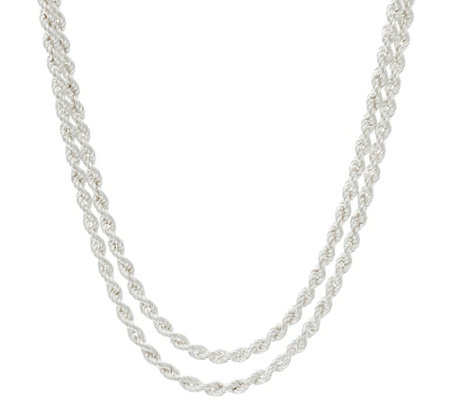 Sterling Silver Double Layer Rope Necklace, 15.20g, by Silver Style