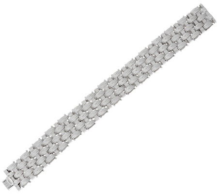 "Vicenza Silver Sterling 8"" Textured Woven Bracelet, 57.6g"