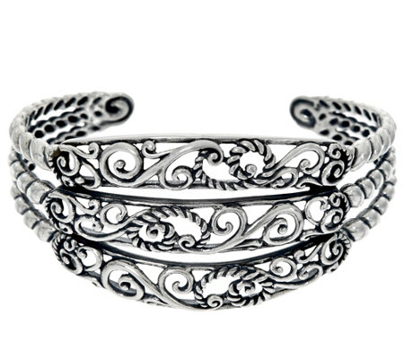 Carolyn Pollack Sterling Silver Signature Three Row Cuff Bracelet 28.2g