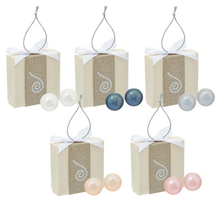 Honora Cultured Pearl Set of 5 8.0mm Boxed Stainless Steel Stud Earrings