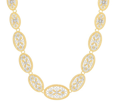 "Genesi 18K Clad 18"" Graduated White Topaz Necklace 37.0g"