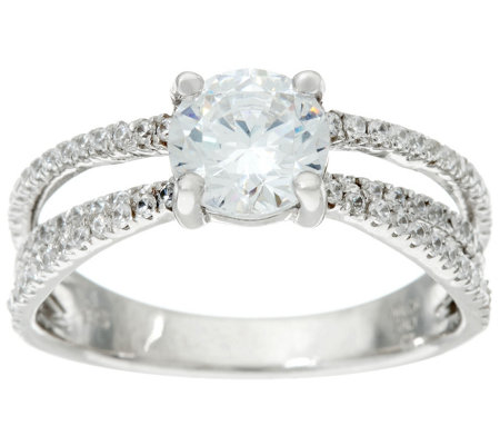 Diamonique 1.45 cttw Solitaire w/ Multi Band Ring, Sterling