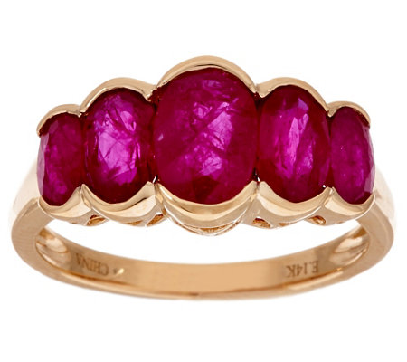 """As Is"" 2.20 ct tw Ruby 5-Stone Design Ring, 14K Gold"