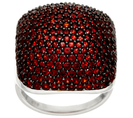 """As Is"" Pave' Red Garnet Bold Sterling Silver Ring, 4.00 cttw"