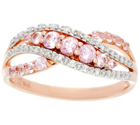 """As Is"" Baby Pink Spinel & Diamond Cross- Over Ring, 14K, 0.60 cttw"
