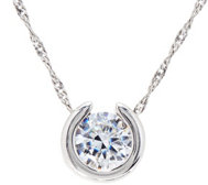 "Diamonique 1.00 ct Round Pendant w/ 18"" Chain, Sterling"