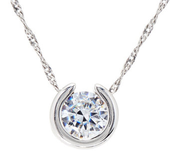 "Diamonique 1.00 ct Round Pendant w/ 18"" Chain, Sterling - J334694"