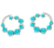 Sleeping Beauty Turquoise Sterling Front Back Hoop Earrings - J335894