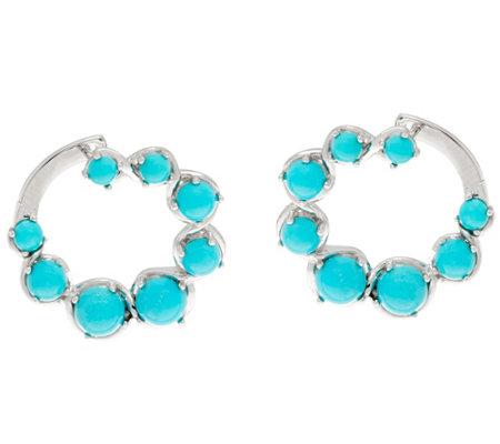 Sleeping Beauty Turquoise Sterling Front Back Hoop Earrings