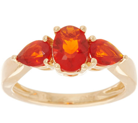Oval & Pear Cut Red Fire Opal Ring, 14K Gold 0.90 cttw