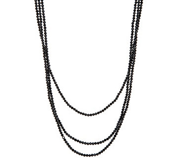 "JAI 72"" Sterling Silver Black Spinel Bead Necklace - J346294"