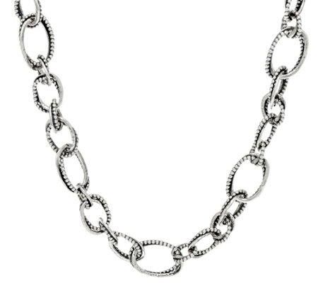 "Or Paz Sterling Silver 60.0g 18"" Multi-texture Link Necklace"