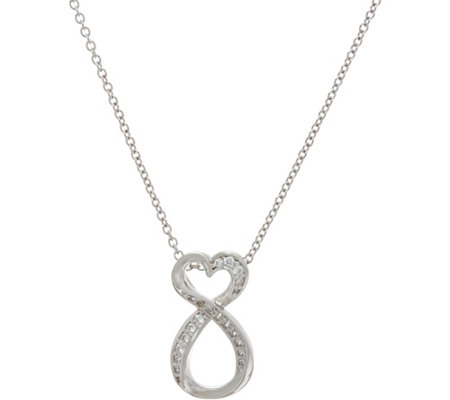 Diamonique Heart Infinity Pendant, Sterling