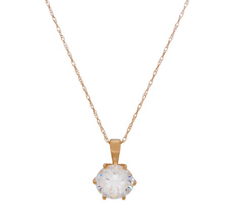 Diamonique 2.00 ct Round Solitaire Pendant, 14K Gold