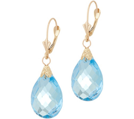 14K Gold Sky Blue Topaz Earrings