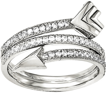 Sterling Wrap Around Crystal Arrow Ring