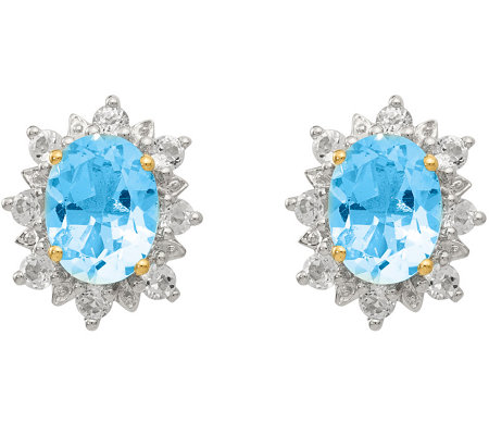 Sterling & 14K Sky Blue & White Topaz Post Earrings