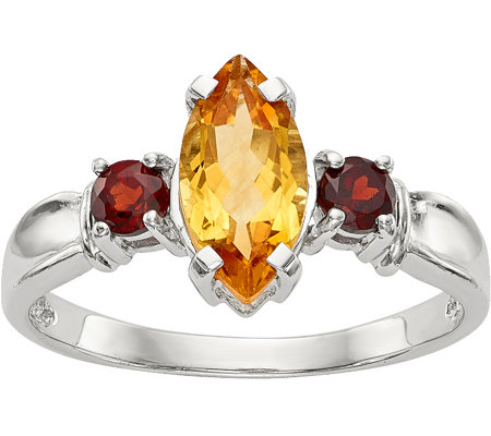 Sterling 1.15 cttw Citrine & Garnet Ring