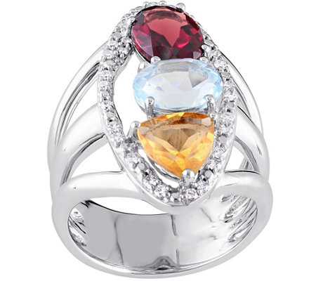 14K Gold 4.10 cttw Multi-gemstone & Diamond Ring