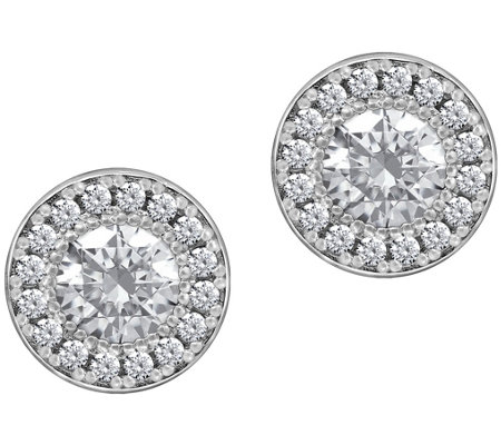 Diamonique 2.50 cttw Round Halo Stud Earrings,Platinum Clad