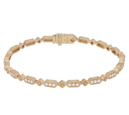 "Judith Ripka 14K Gold 6-7/8"" Diamond Oval LinkBracelet"