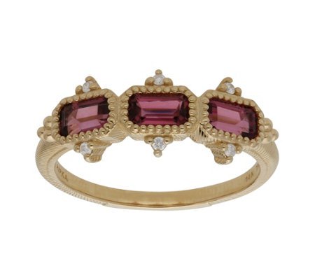 Judith Ripka 14K Gold Pink Tourmaline and Diamond Ring