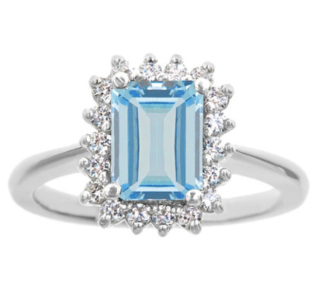 14K Gold 1.20 cttw Emerald-Cut Aquamarine HaloRing