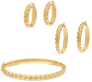 Dieci Pyramid Design Hoop Earrings or Bangle, 10K