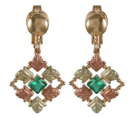 Black Hills Checkerboard Green Helenite Earrings, 10K/12K/14K