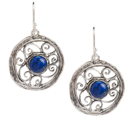 Or Paz Sterling Round Gemstone Open Work Earrings