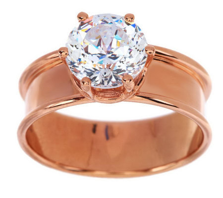 Diamonique 100-Facet 2.00 carat Wide Band Ring, 14K Gold