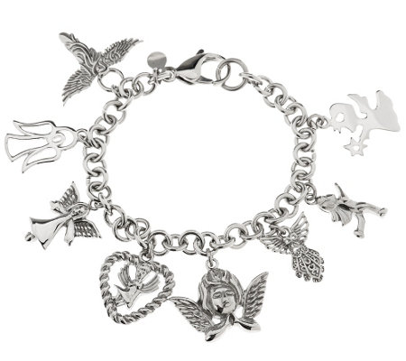 """As Is"" Stainless Steel Angel Charm Bracelet"