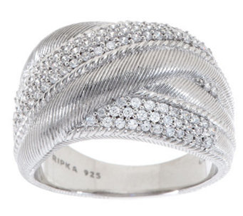 Judith Ripka Sterling Diamonique Textured Wide Highway Ring - J274695