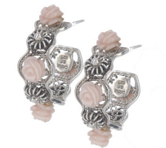 """As Is"" Artisan Crafted Sterling Carved Pink Opal Flower Earrings - J275595"