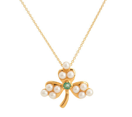 Solvar Gold Plated Shamrock Pendant/Brooch w/Chain