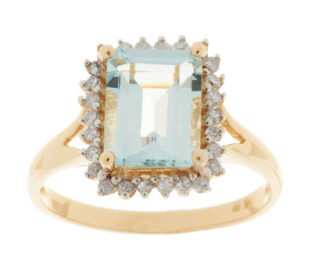 2.00 ct Emerald Cut Aquamarine and Diamond Ring, 14K