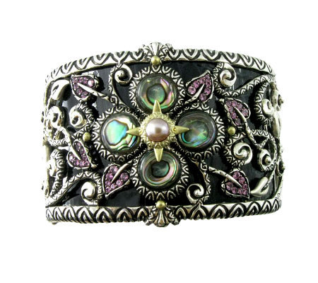 Barbara Bixby Sterling & 18K Multi-Gemstone & Leather Cuff Bracelet -Large