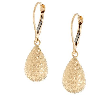 EternaGold Diamond Cut Teardrop Lever Back Earrings 14K Page 1