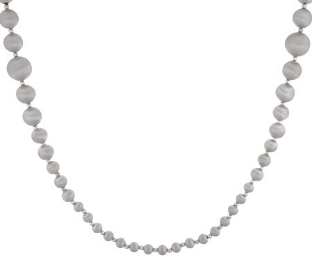 "Veronese 18K White Gold Clad 36"" Graduated Satin Bead Necklace"