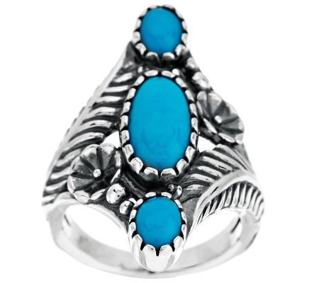 American West Sleeping Beauty Turquoise Sterling Flower Ring