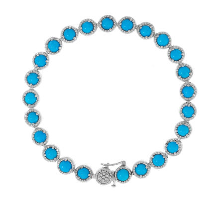 """As Is"" Sleeping Beauty Turquoise 8"" Sterling Tennis Bracelet"